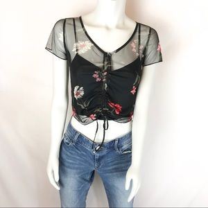 HOLLISTER Cami Crop Top with Sheer Blouse Overlay